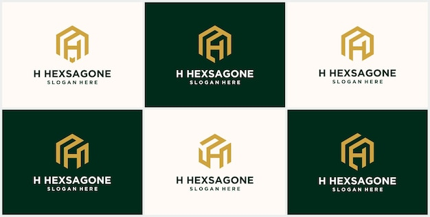 イニシャル h 六角ロゴ モノグラム