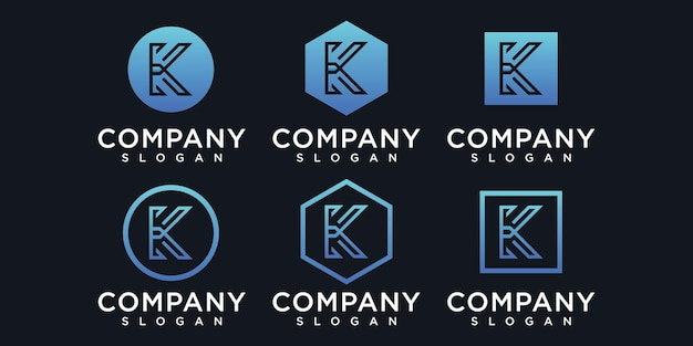 Initials k icon logo design template