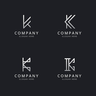 Initials k line monogram logo template with silver style color for the company