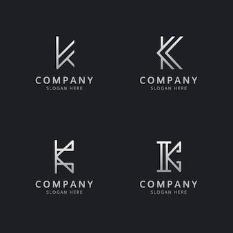 会社のシルバースタイルの色でイニシャルkラインモノグラムのロゴのテンプレート