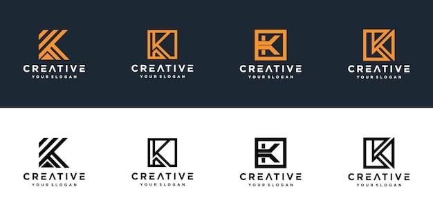 Initials k line monogram logo template
