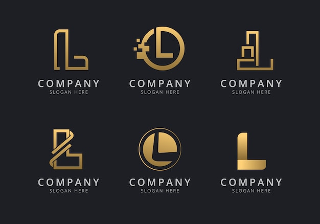 Шаблон логотипа initials l с золотистым стилем для компании