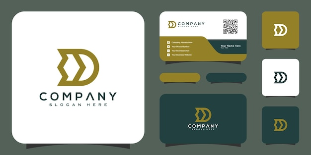 Initials letter d logo vector design template and business card