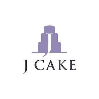 이니셜 문자 j 케이크 단순하고 매끄러운 창조적 인 기하학적 현대 로고 디자인
