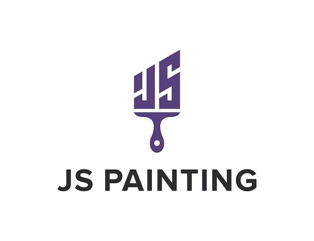 Initials letter js painting simple sleek creative geometric modern logo design
