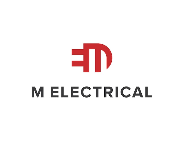 이니셜 문자 m 및 숨겨진 문자 e 전기 단순 세련된 창조적 기하학적 현대 로고 디자인