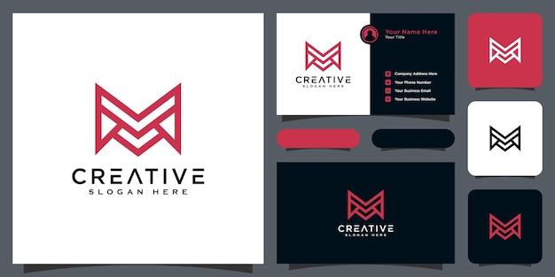 Инициалы буква m векторный дизайн логотипа и визитная карточка