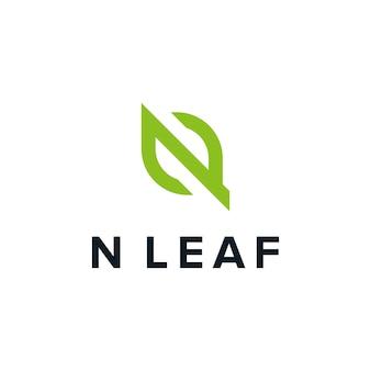 Initials letter n leaf outline simple sleek creative geometric modern logo design