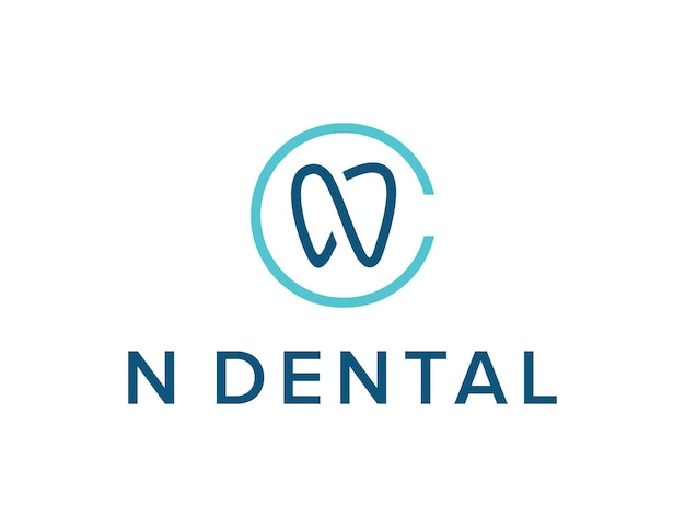 Initials letter n outline tooth simple sleek creative geometric modern logo design