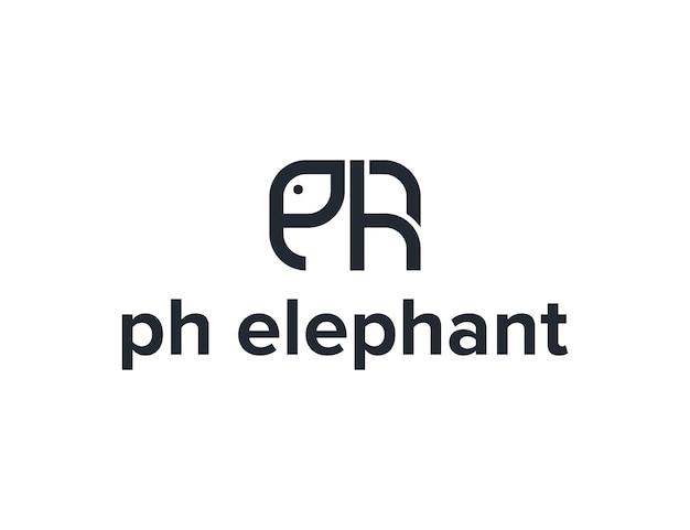 イニシャル文字phと象のシンプルで洗練された創造的な幾何学的なモダンなロゴデザイン