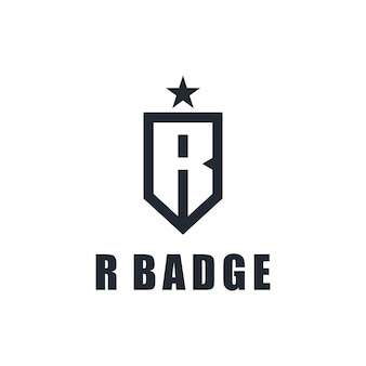 Инициалы буква r со значком и звездой простой элегантный креативный геометрический современный дизайн логотипа