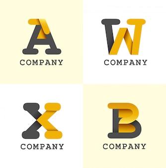 Initials logo design black and yellow