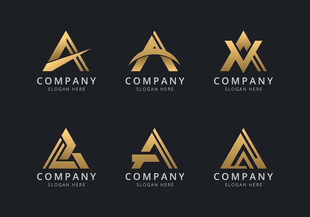 Initials a logo template with a golden style color for the company