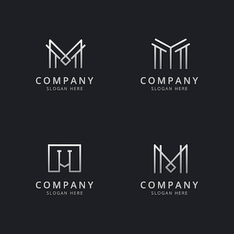 Шаблон логотипа с монограммой инициалов м линии серебристого цвета для компании