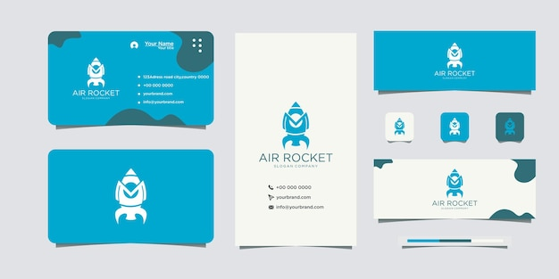 Initials m rocket logo design icon and business card