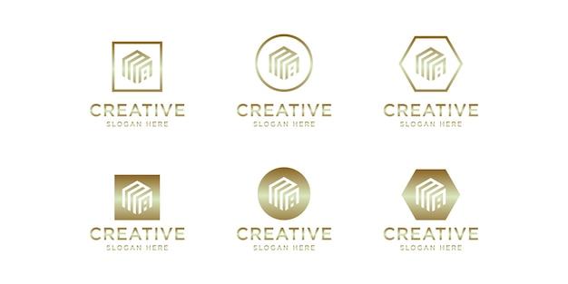 Initials ma logo gold template