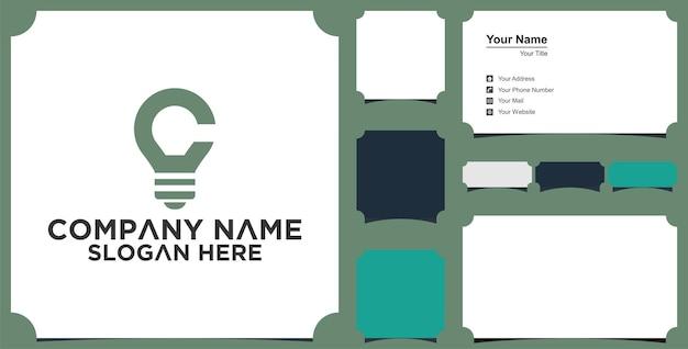 Инициалы вензель логотип c idea lamp simple for company визитная карточка и визитка