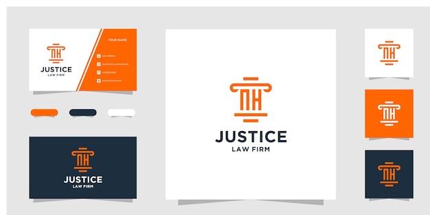 イニシャルnh法律事務所のロゴデザインテンプレートと名刺