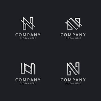 Initials n line monogram logo template with silver style color for the company