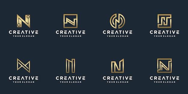 会社のゴールデンスタイルの色のイニシャルnロゴテンプレート