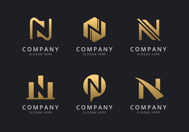 Initials n logo template with a golden style color for the company