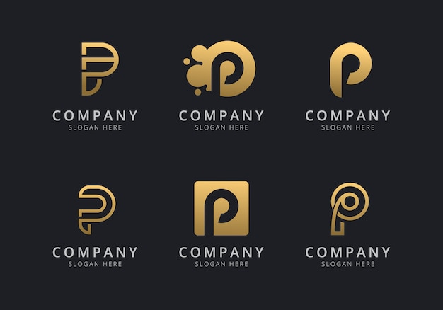 Initials p logo template with a golden style color for the company