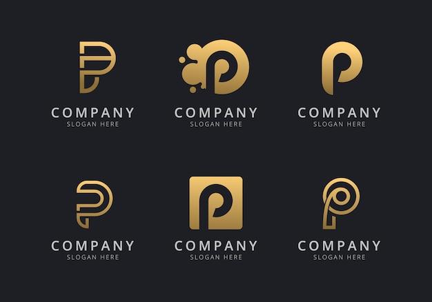Шаблон логотипа initials p с золотистым стилем для компании