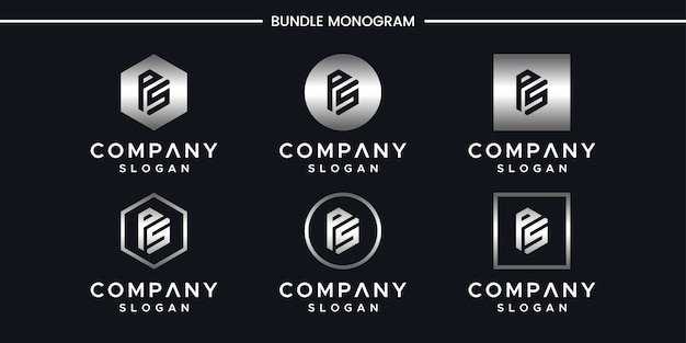 イニシャルpsロゴデザインテンプレート。