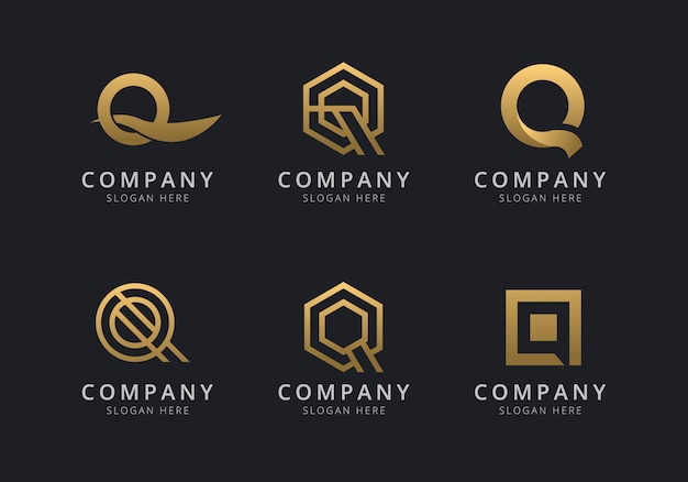 Initials q logo template with a golden style color for the company
