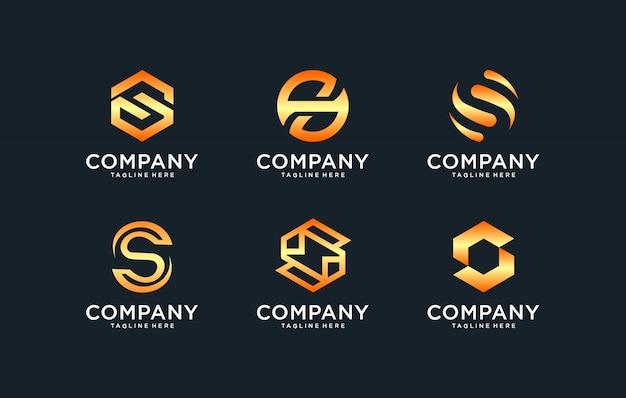 회사의 황금 스타일 색상으로 이니셜 로고 템플릿