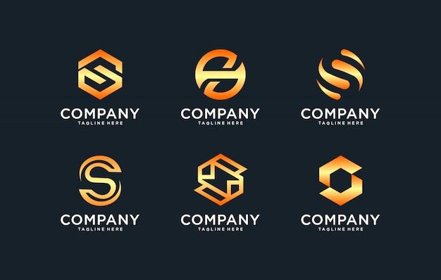 Initials s logo template with a golden style color for the company