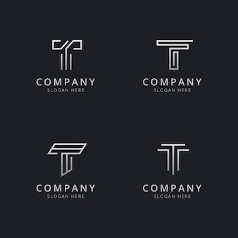 회사의 실버 스타일 색상으로 이니셜 t 라인 모노그램 로고 템플릿