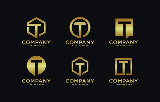 Initials t logo template with a golden style color for the company