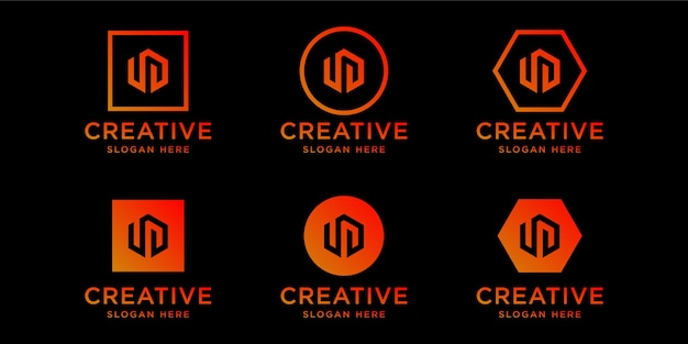 イニシャルudロゴデザインテンプレート