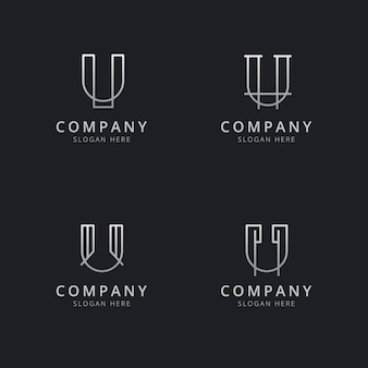 Initials u line monogram logo template with silver style color for the company