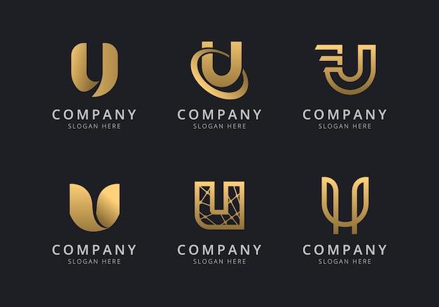 Шаблон логотипа инициалы u с золотистым стилем для компании