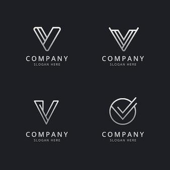 会社のシルバースタイルの色でイニシャルvラインモノグラムのロゴのテンプレート