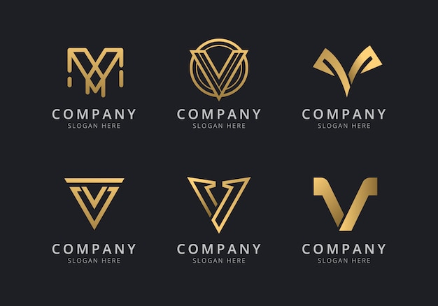 Initials v logo template with a golden style color for the company