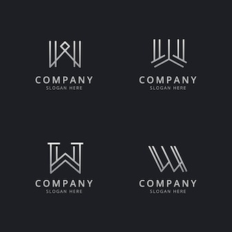 Initials w line monogram logo template with silver style color for the company