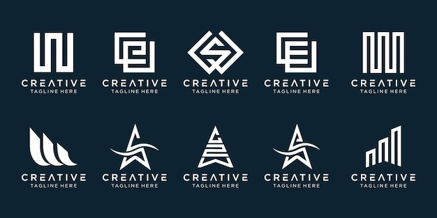 シンプルなファッションスポーツ技術のビジネスのためのイニシャルwロゴアイコンセットデザイン