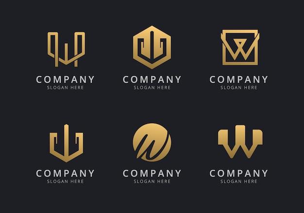 会社のゴールデンスタイルの色のイニシャルwロゴテンプレート