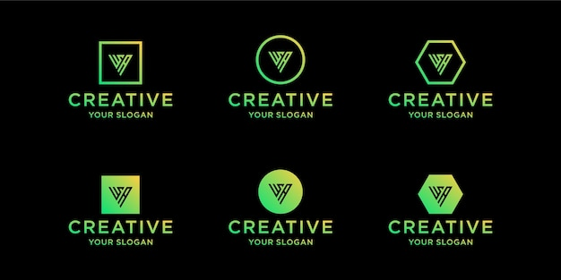이니셜 wa 로고 디자인 템플릿