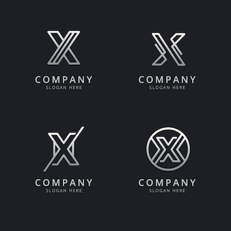 Initials x line monogram logo template with silver style color for the company