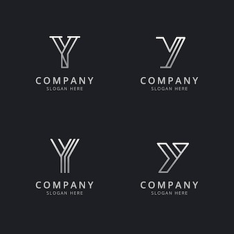 Initials y line monogram logo template with silver style color for the company
