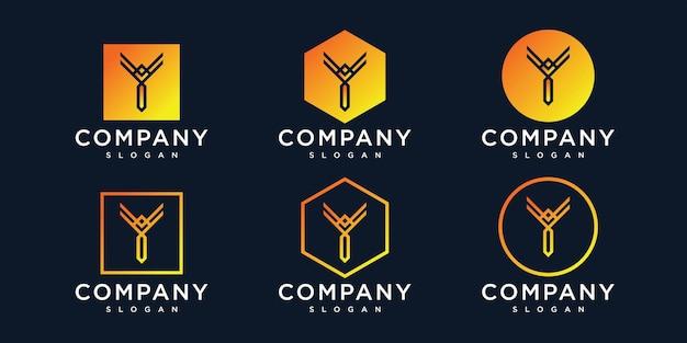 회사의 이니셜 y 로고 디자인 템플릿