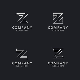 Initials z line monogram logo template with silver style color for the company