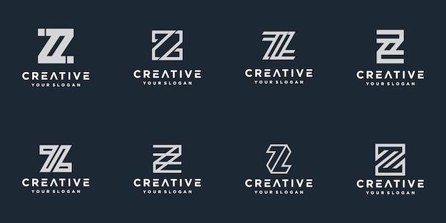 이니셜 z 라인 모노그램 로고 템플릿