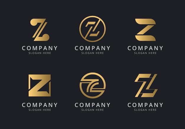 会社のゴールデンスタイルの色のイニシャルzロゴテンプレート
