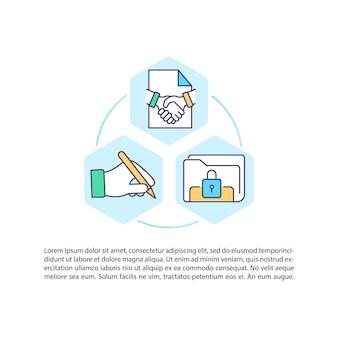 テキスト付きの開始契約プロセスの概念アイコン。交渉、実行。ライフサイクル管理。 pptページテンプレート。パンフレット、雑誌、線形イラストと小冊子のデザイン要素