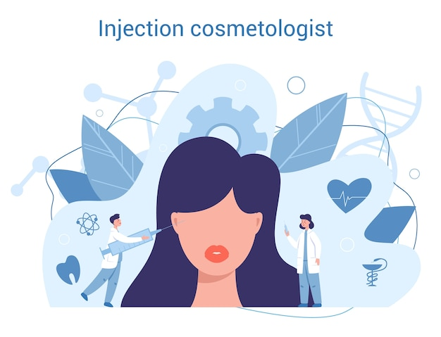 Инъекционный косметолог. концепция пластической хирургии. идея коррекции тела и лица. госпитальная ринопластика и антивозрастная процедура.